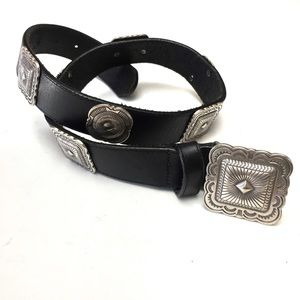 Vintage Leather Square Concho Waist Belt Medium